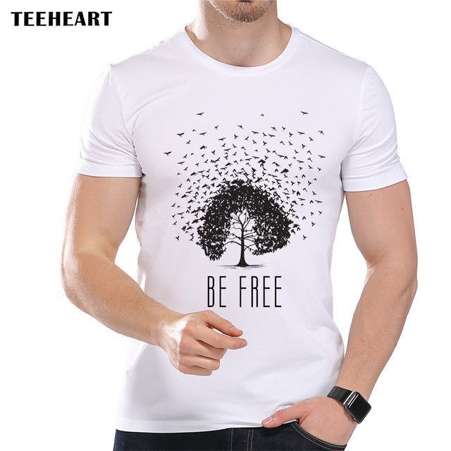 Men's Be Bird Tree Printed Designer T-Shirt Cool Summer Modal Artistic Graphic Top Tees