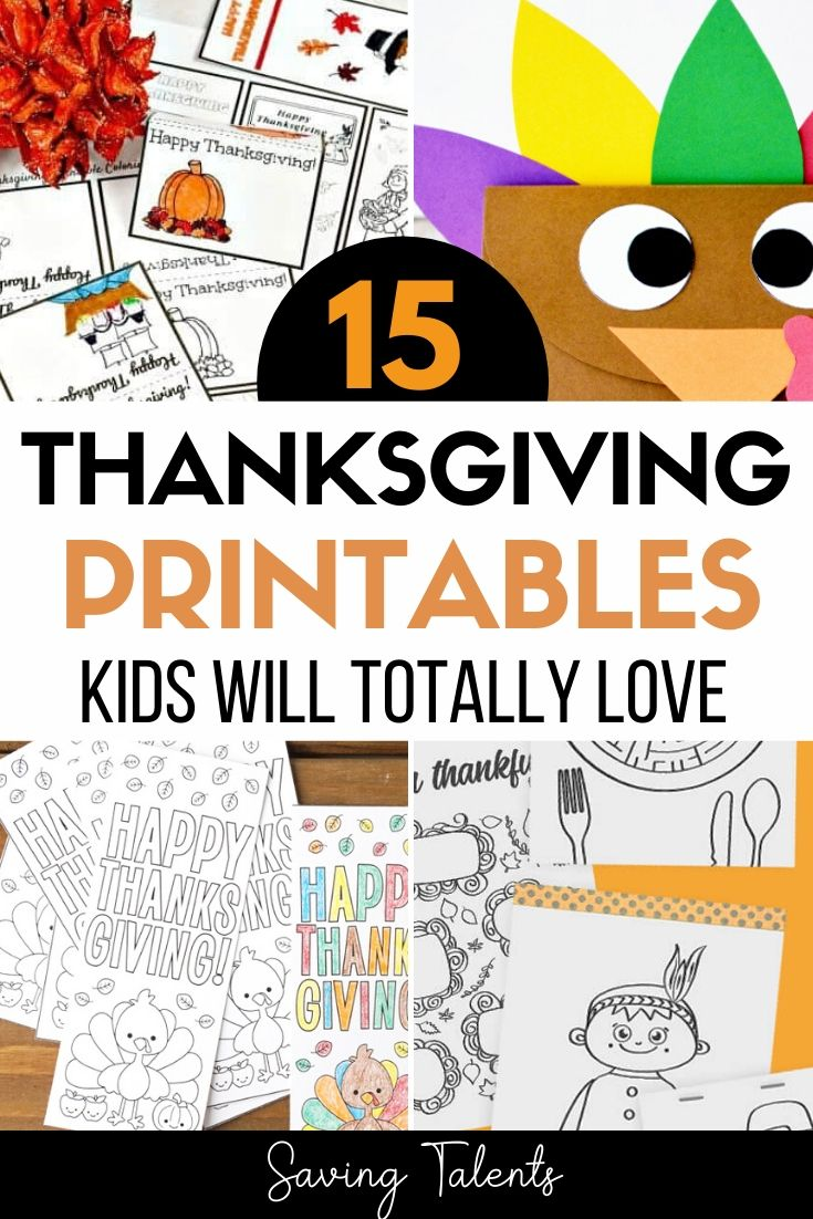 15 Thanksgiving Crafts and Printables kids will totally love A great fun thing to put on the kids table during Thanksgiving dinner