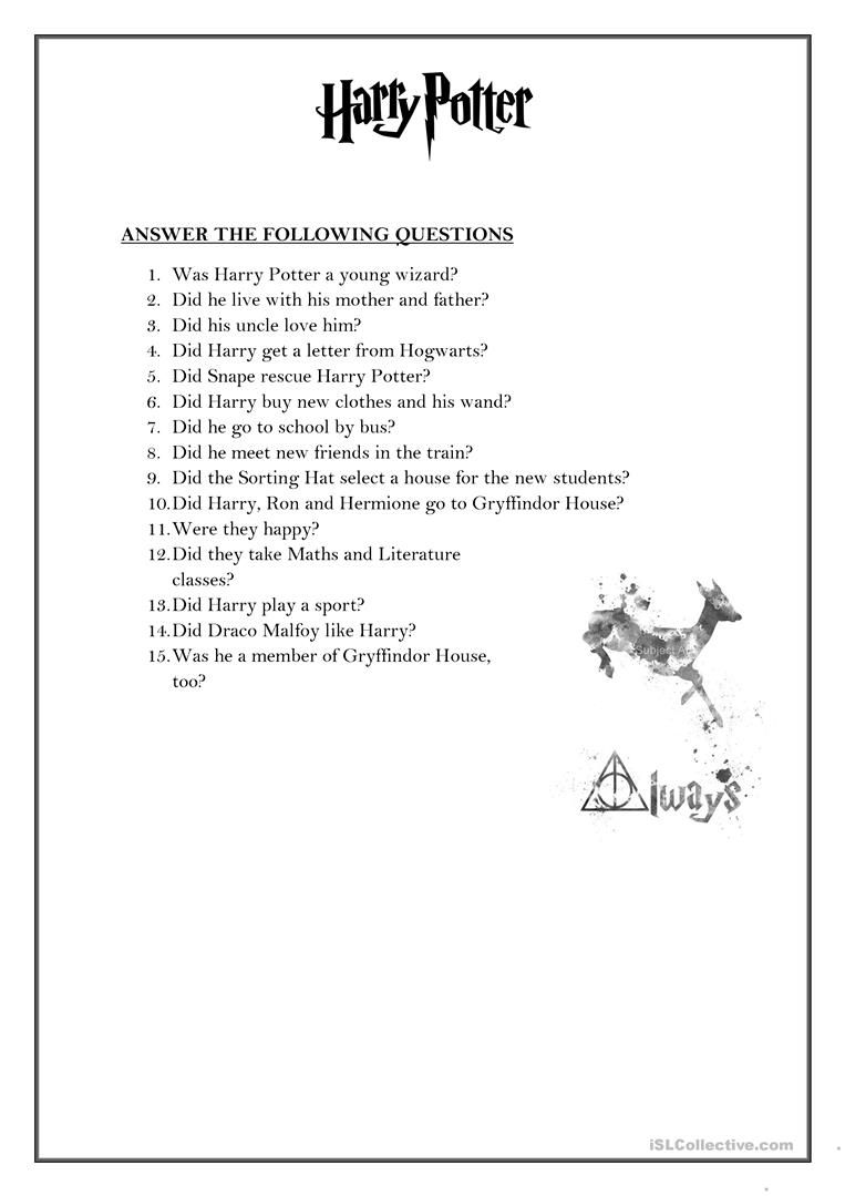 worksheet Harry Potter Printable Worksheets simple past tense harry potter teaching pinterest worksheets potter