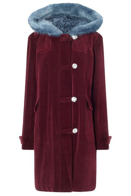 Keep on cordin' on with this winter-ready coat. Shrimps Herby Maroon Duffle Coat, $1073.01, available at Avenue 32.