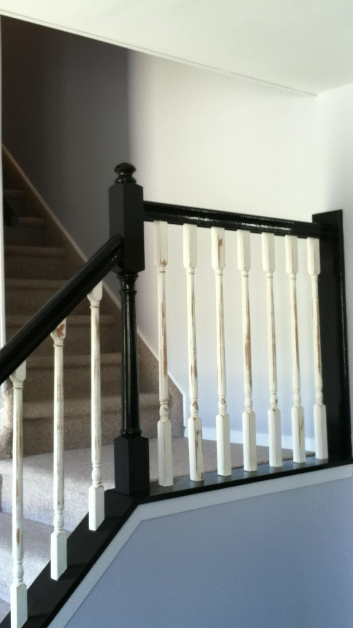 Distressed White And Glossy Black Banister Home Black