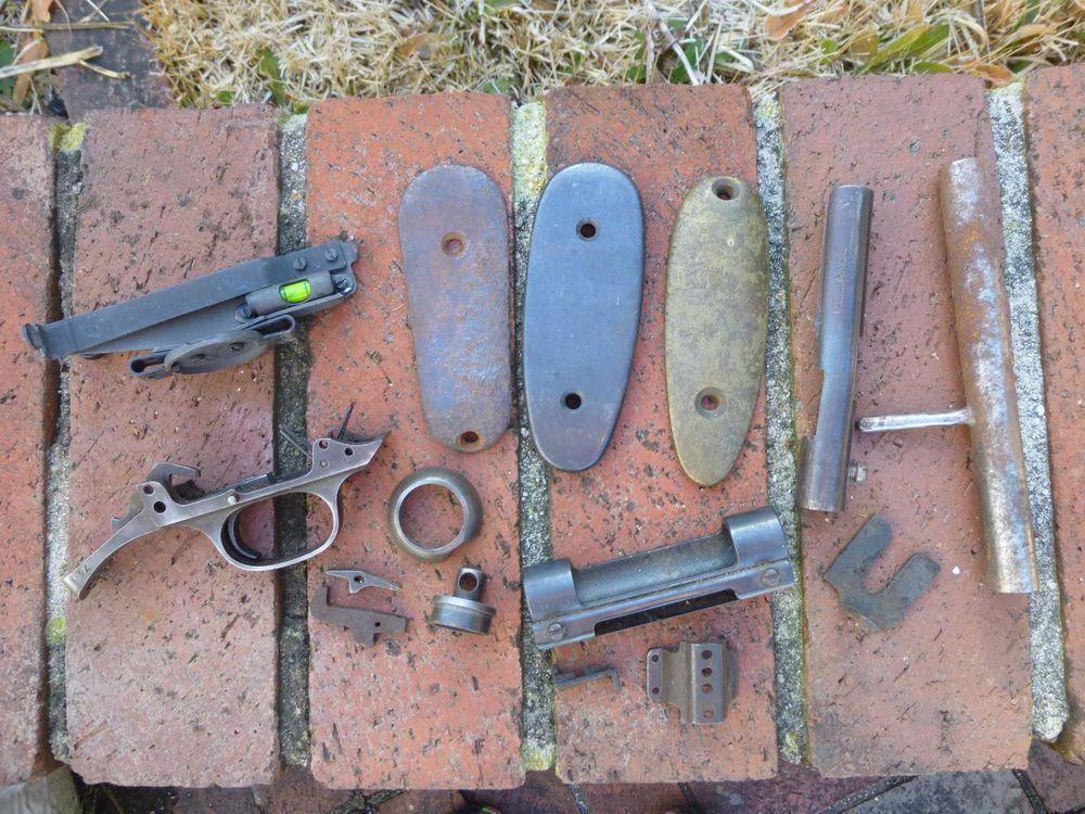 lot of vintage gun rifle mauser parts butt plate trigger sight