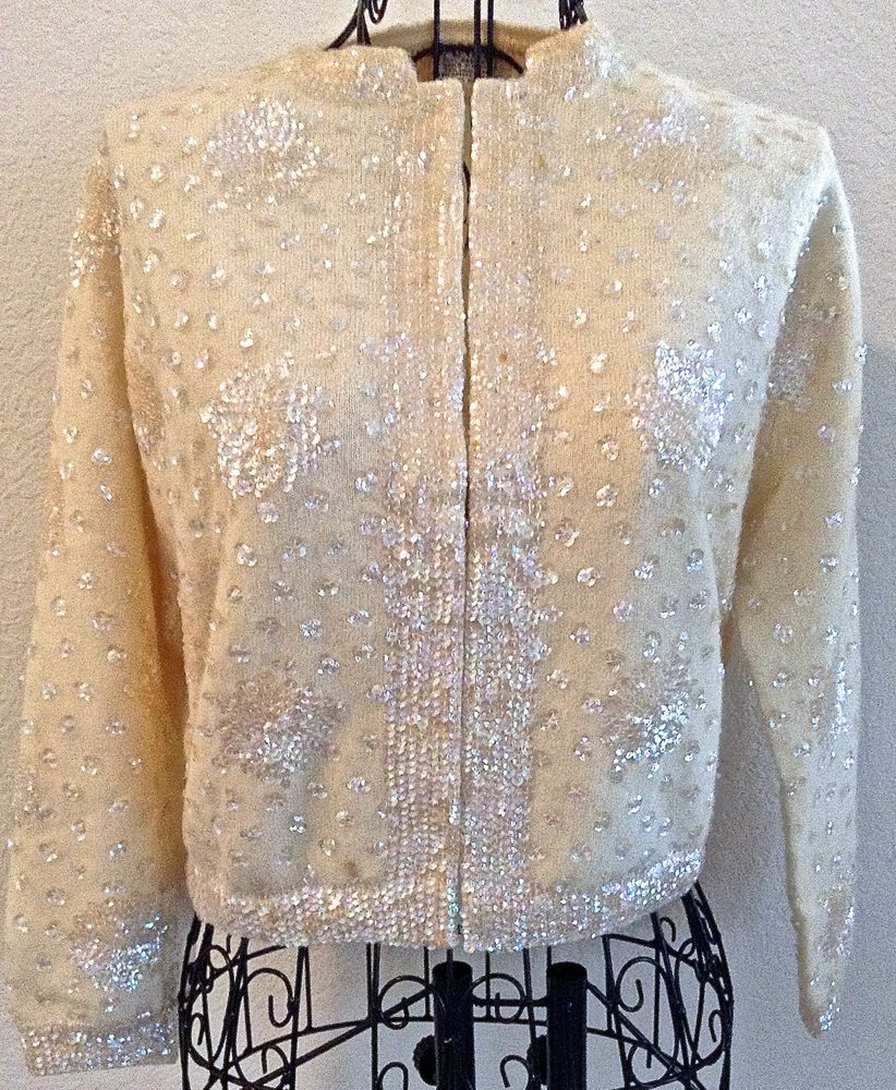 Vintage 1950's Banff Sequin Cardigan Sweater Top Lambswool Angora ...