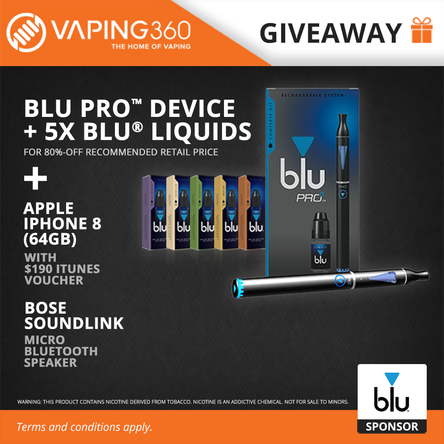 Blu Pro Device, 5 x Blu eLiquid, iPhone 8, Bose SoundLink