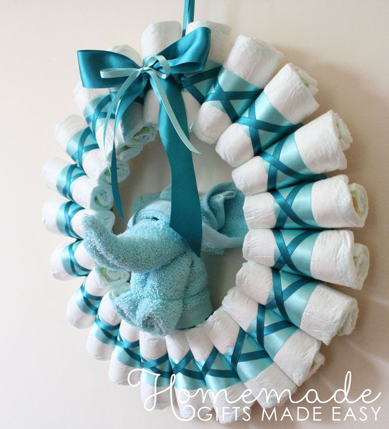 Baby Shower Wreath Instructions: Rolled Diaper Wreath Instructions - Finished Wreath