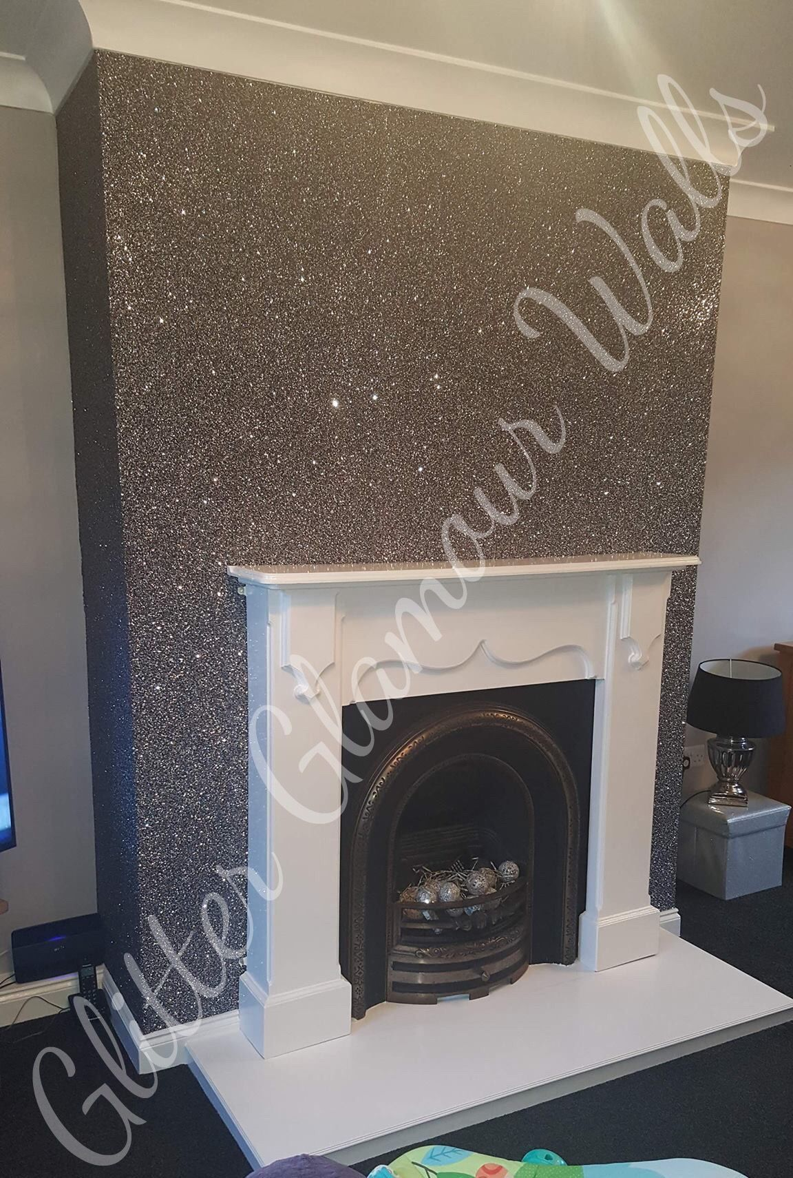Black And Silver Mix Glamour Range Glitter Wallcovering B