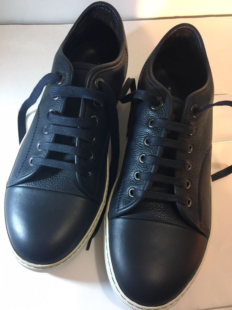 top navy blue leather sneakers