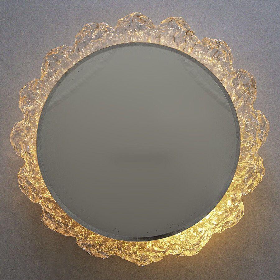 Wandspiegel Beleuchtet Acryl Eisglas 70er Jahre 55 Cm Spiegel Wandspiegel Badezimmerspiegel