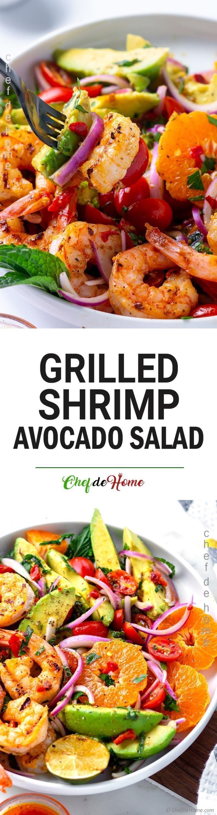 Grilled Shrimp Avocado Salad Recipe | ChefDeHome.com #grilledshrimp