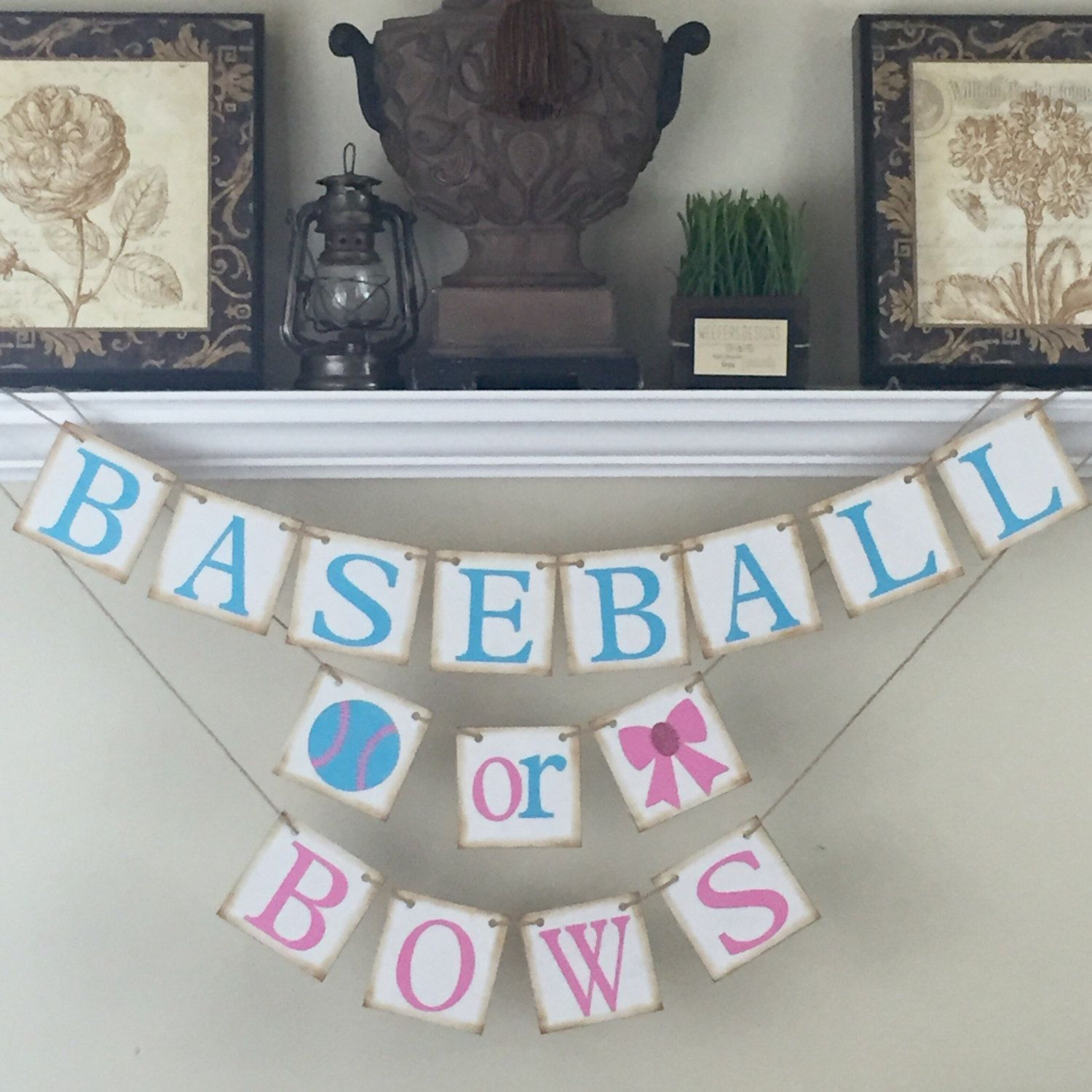 Gender Reveal, Baseball Or Bows Banner, Gender Reveal Sign, Rustic