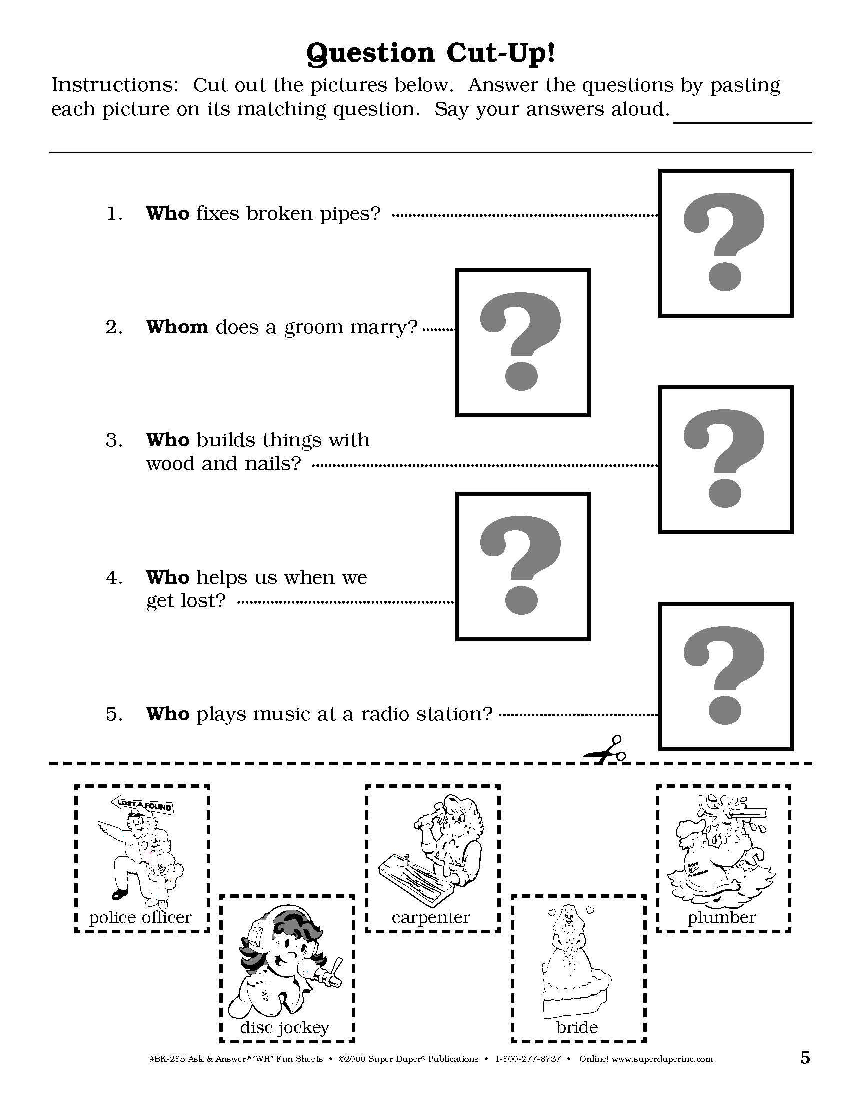From Super Duper S Ask Amp Answer Wh Fun Sheets Book