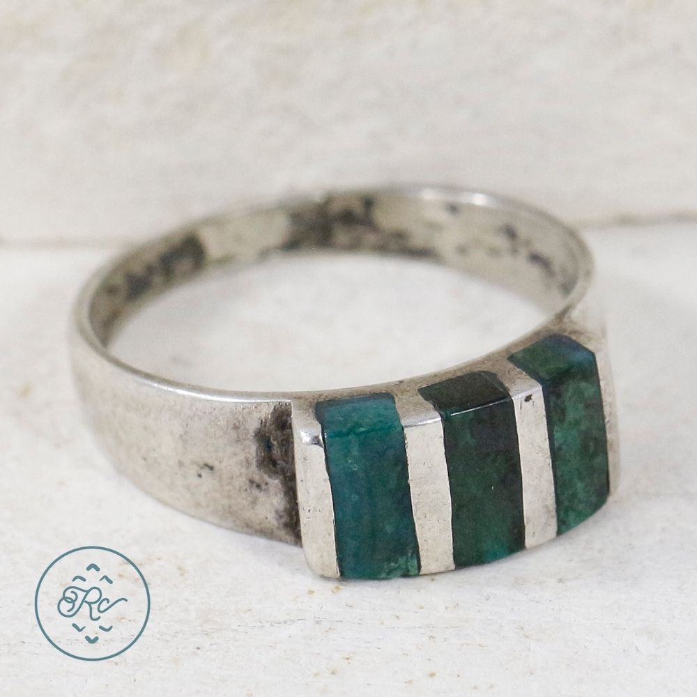 Sterling silver chrysocolla stripes g ring mens ew