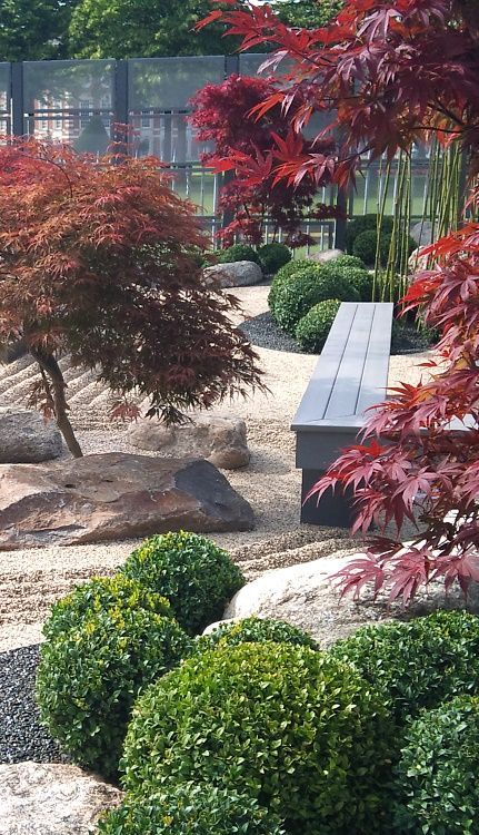 Japanese Garden Formed Using This Group Of Plant And Materials. Box Balls,  Rocks, Gravel, Specimen Trees To Create Unique Mock Landscape.