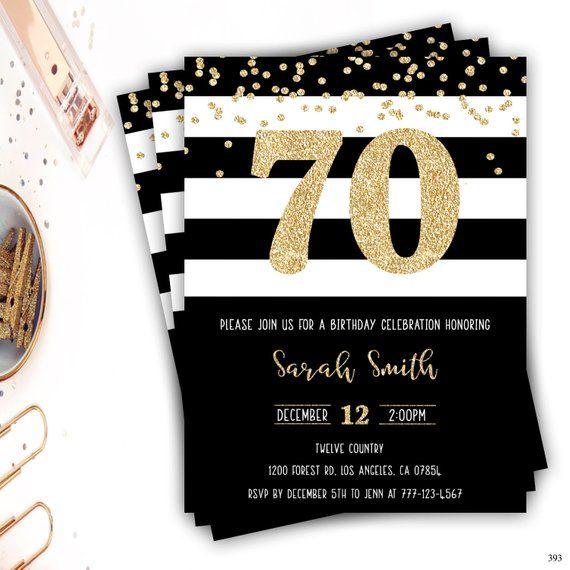 70th Birthday Invitation Gold Glitter Glam Invitation Black And