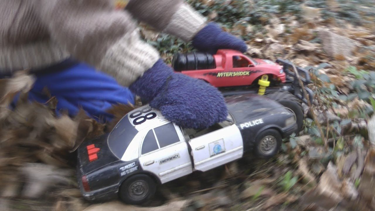 toy police car chase slow motion crashes kids playing