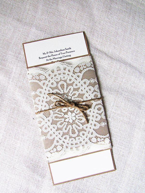 Schick Spitze Jute Hochzeitskarten Einladung Jute Hochzeitsdeko Und