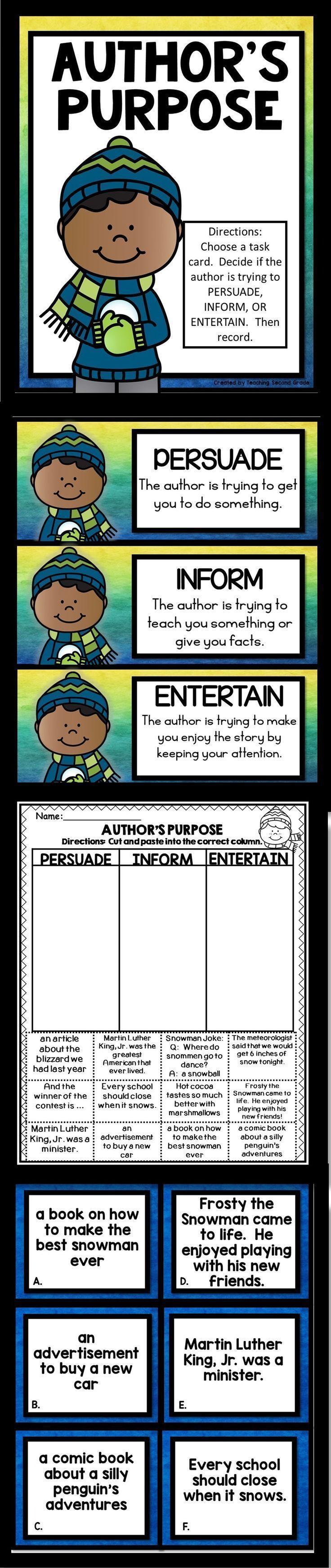 Author 39 S Purpose Task Cards Teaching Authors Purpose