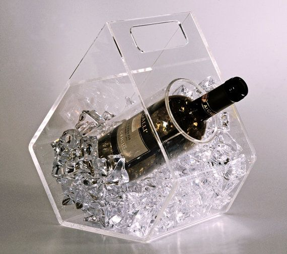Clear Ice Ice Bucket For Wine Bottles Made Of Transparent