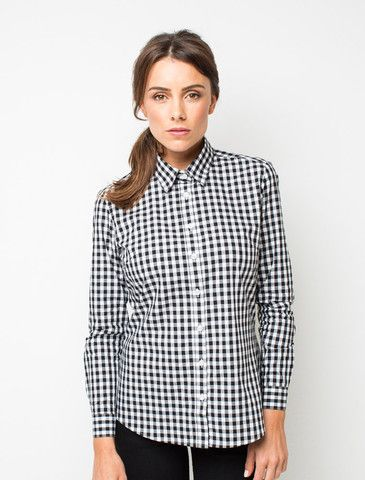 455e68b2d1 Cargo Crew - Women's Frankie Gingham Check Shirt - Black - Online Uniform  Shop Australia