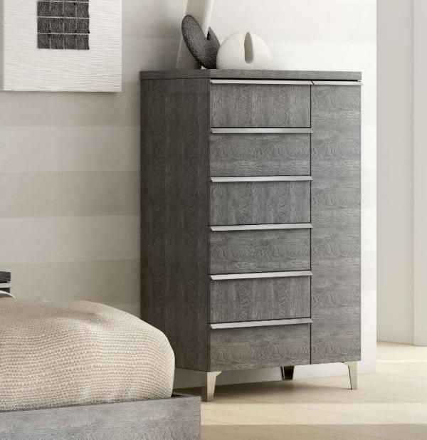 Elite Grey Birch Collection Tall 5 Drawer Chest Of Drawers See More At