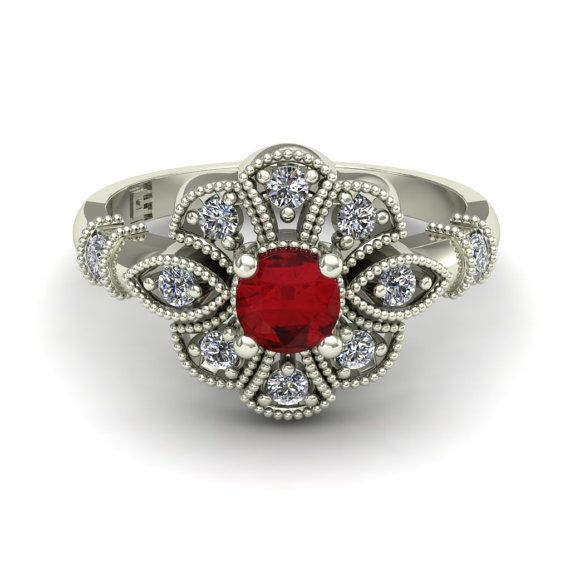 Ruby Ring  Art Deco Diamond Flower  Vintage by CharlesBabbDesigns