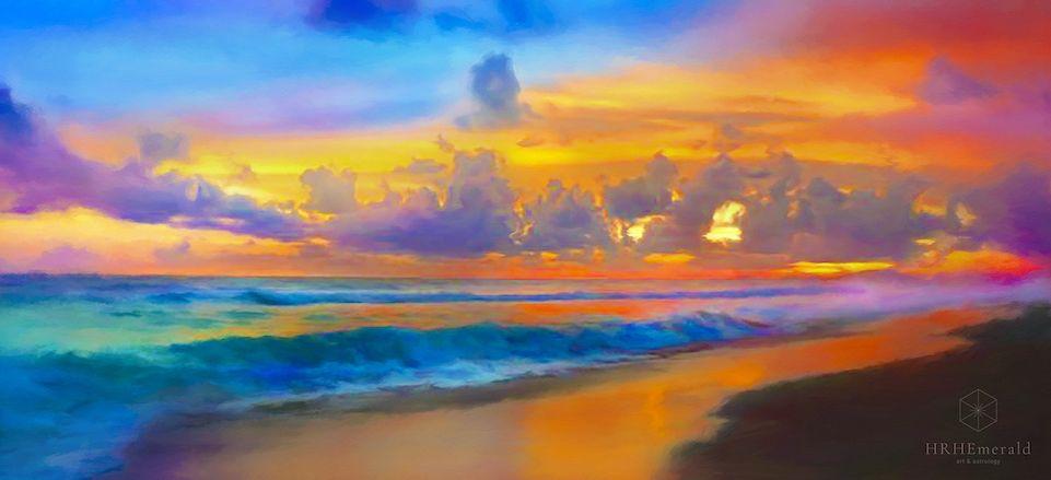 #colorful #art #seascape #painting #artistEmerald #EmeraldArt #EmeraldArtist #ocean #sea #beach #waves #clouds #sky rainbow #canvas #acrylic #artprint #wallart #beachdecor #beachhouse #beachart