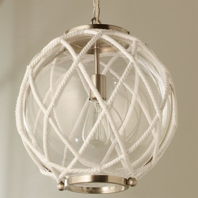 White Rope Globe Pendant Projects To Try In 2019 Globe Pendant White Rope Nautical Chandelier