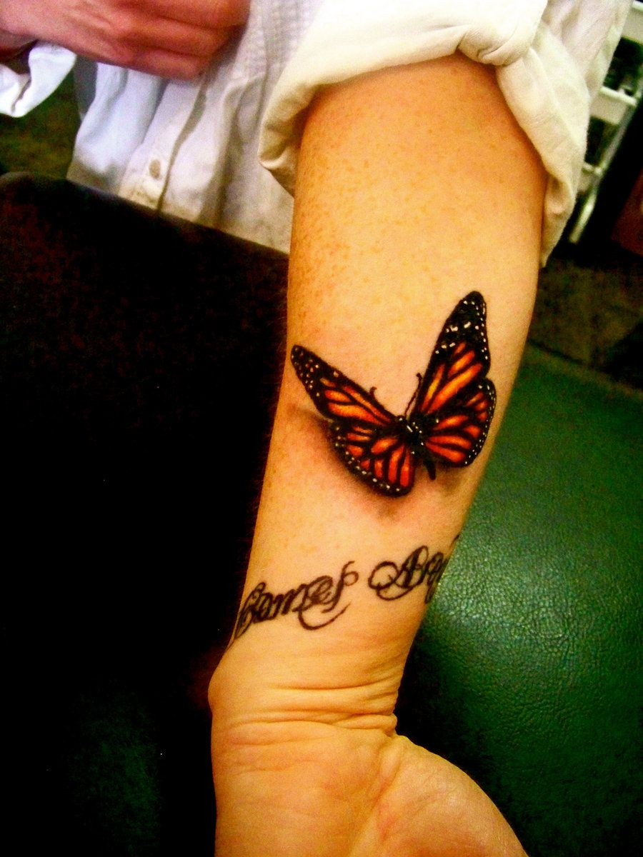 most realistic 3d butterfly 3d butterfly tattoo, Wrist