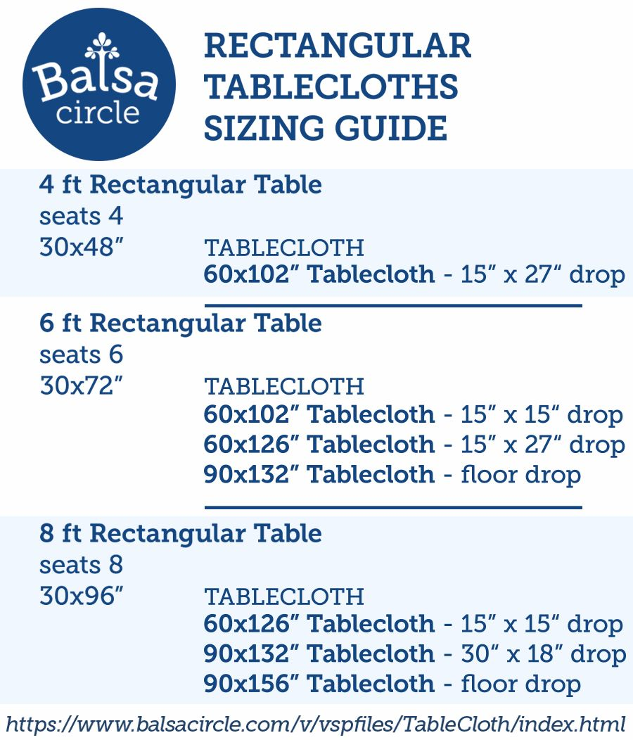 Use Our Rectangular Tablecloths Sizing, What Size Linen Do You Need For A 8 Foot Table