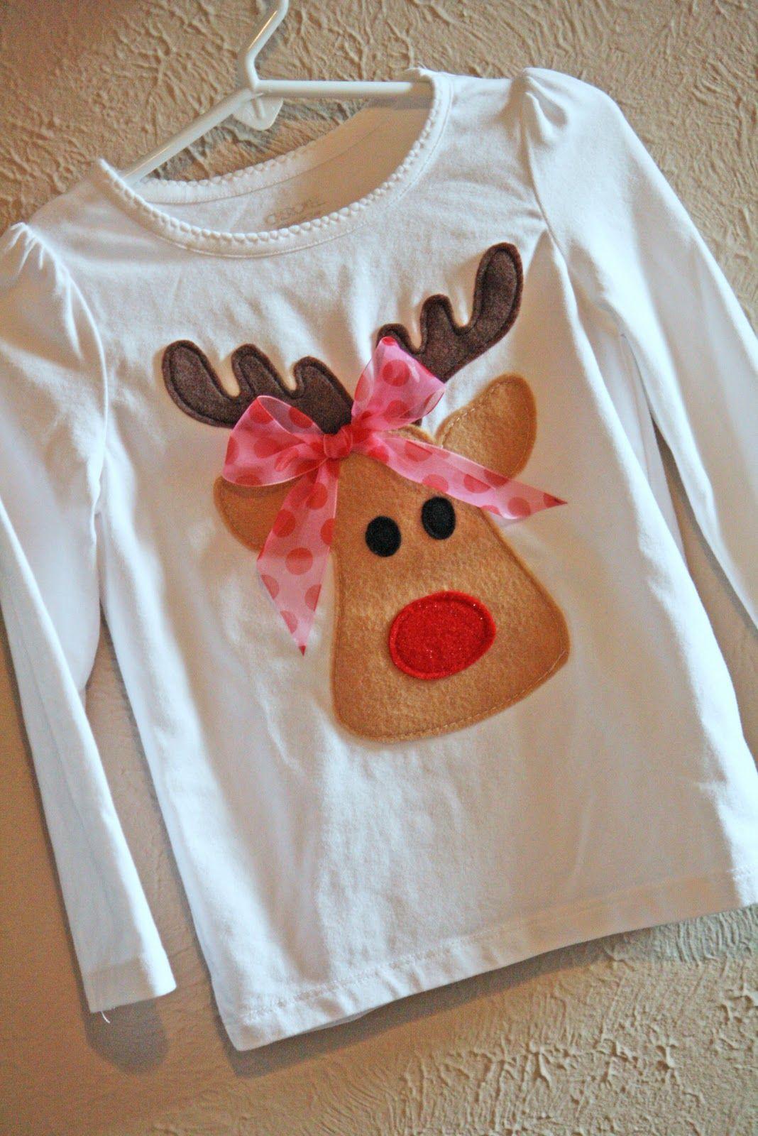 Noodles Milk Too Cute Reindeer Shirt A Tutorial Navidad  ~ Ideas Para Decorar Camisetas Infantiles