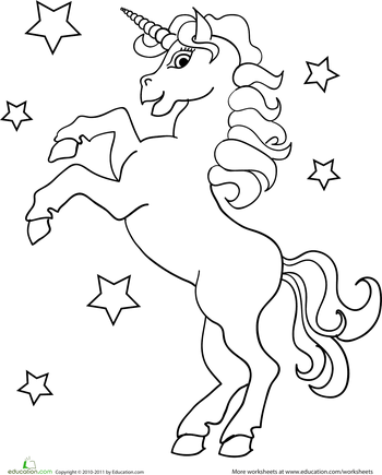 Unicorn Coloring Page Worksheets