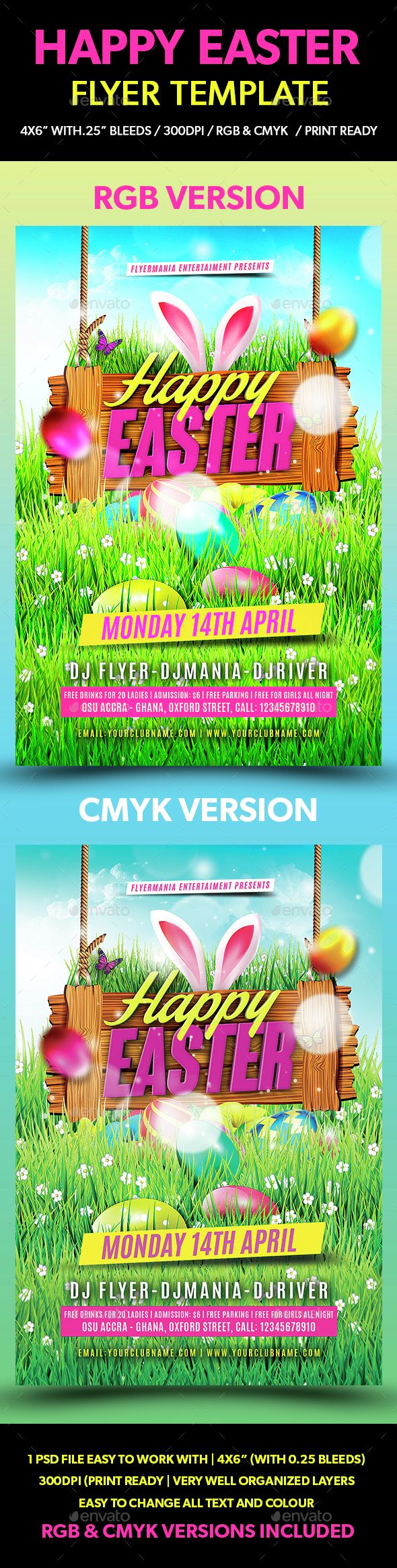 Happy Easter Flyer Template  Flyer Template Happy Easter And