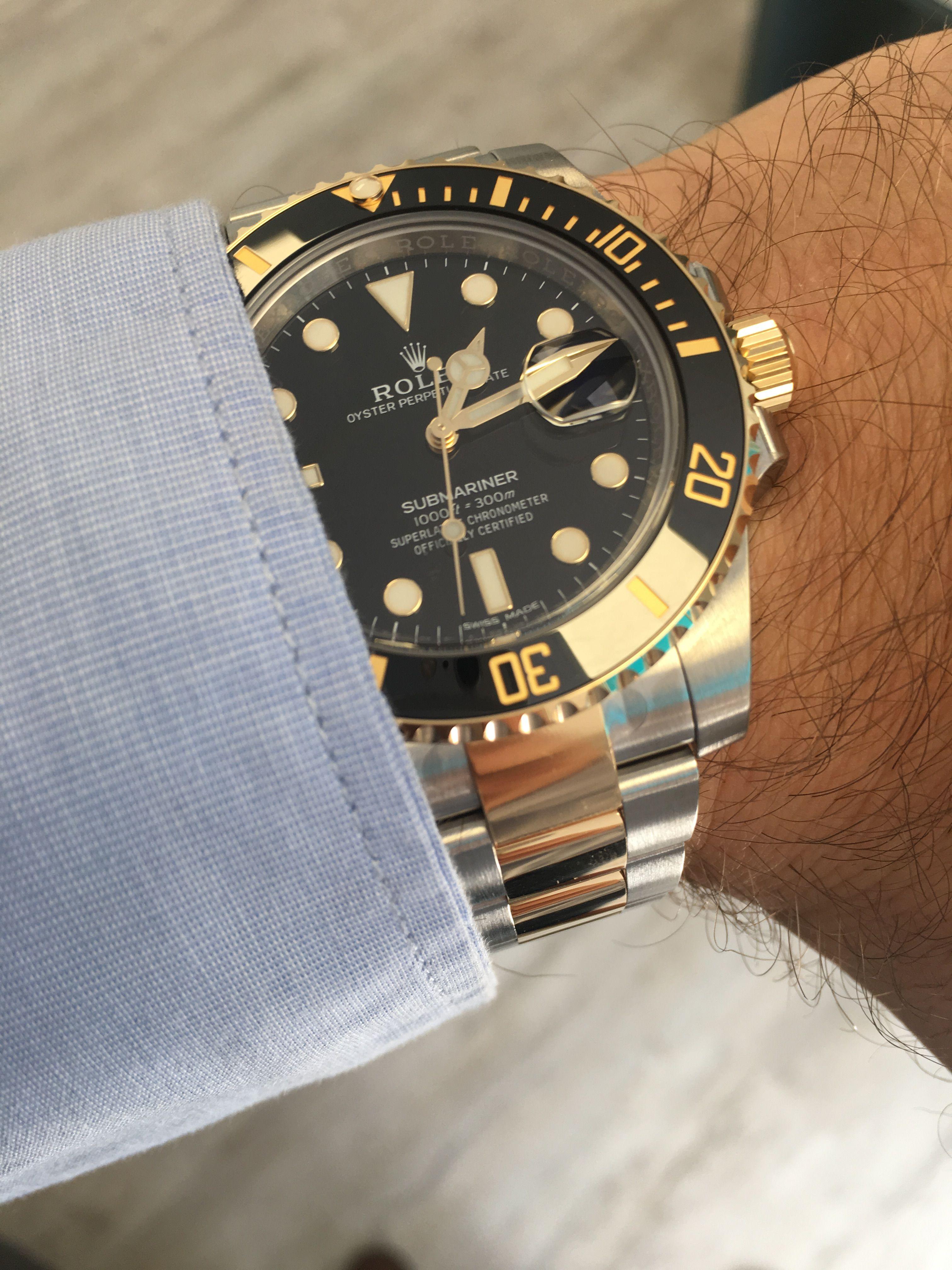 Rolex Submariner Steel Gold Black 116613ln Rolex Rolex Watches