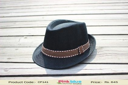 Black Stylish Designer Fedora Hat for Baby Toddlers with Brown Sweatband 68194c71981