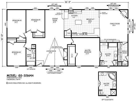 Gs 32664a Line Drawing Modular Home Floor Plans Floor Plans Manufactured Homes Floor Plans
