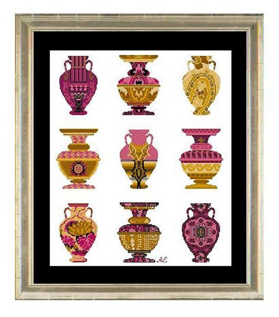 Cross stitch pattern PALAZZO urns  Versace by anetteeriksson