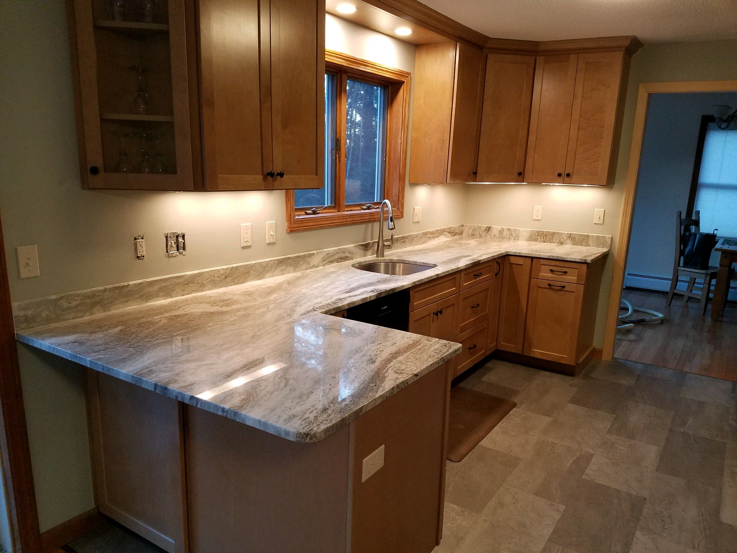 Kitchen With Waypoint Cabinets In Maple Color Rye Floor Is Adura Mannington Vinyl Floor Kitchen Cabinets And Countertops Maple Kitchen Cabinets Kitchen Layout