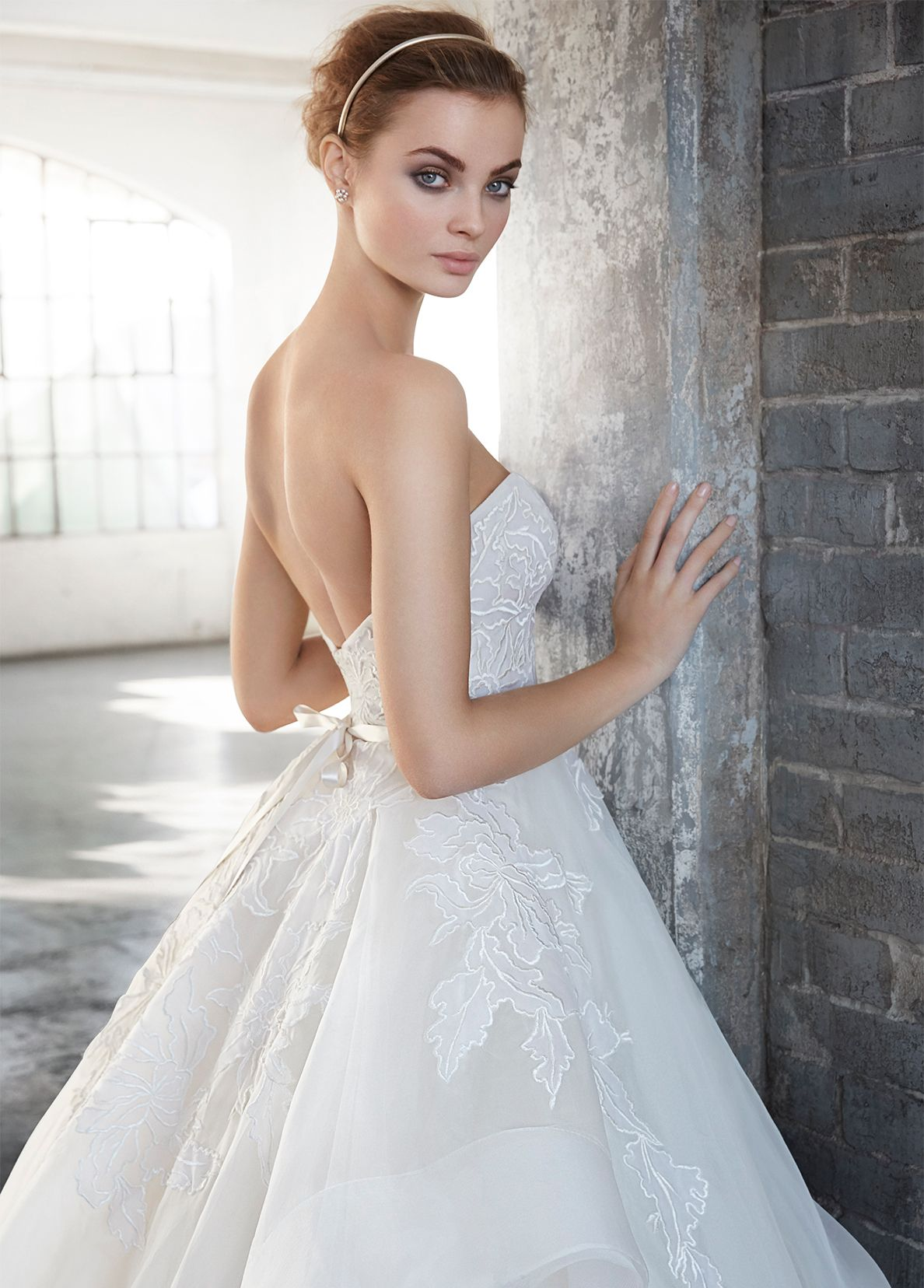 1ecc76da Ivory silk organza floral embroidered bridal ball gown, strapless  sweetheart neckline, satin ribbon at natural waist, tiered tulle and organza  skirt trimmed ...
