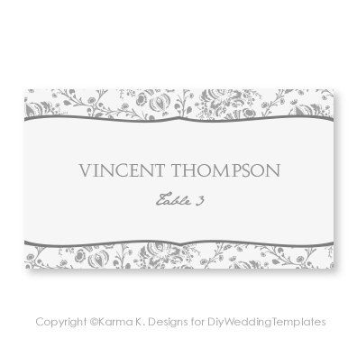 $8 Place Card Template - Download Instantly - EDITABLE TEXT - microsoft word greeting card template