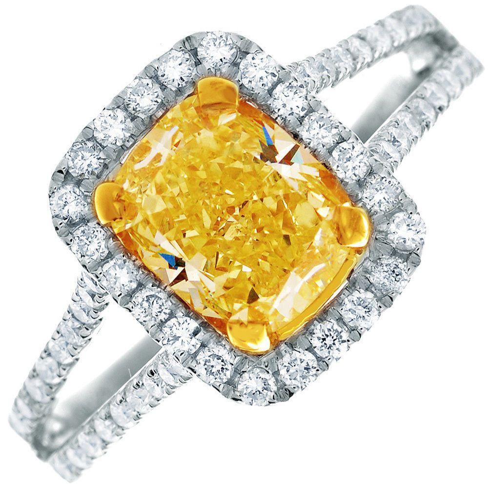 Breathtaking gia certified carat radiant cut fancy yellow