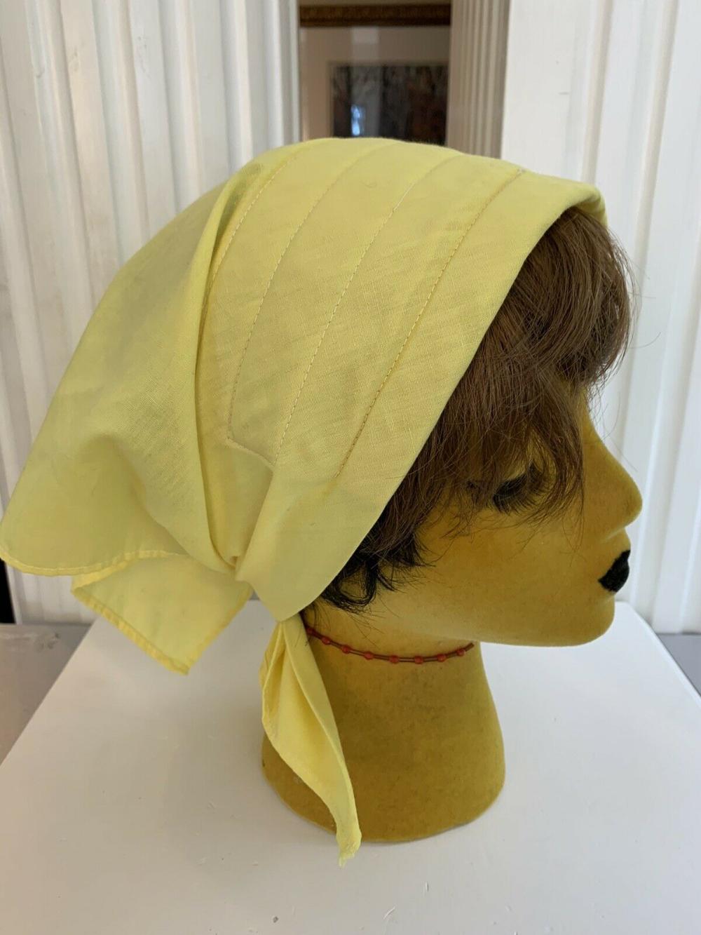 Vintage 60s 70s Yellow Cotton Head Scarf   eBay