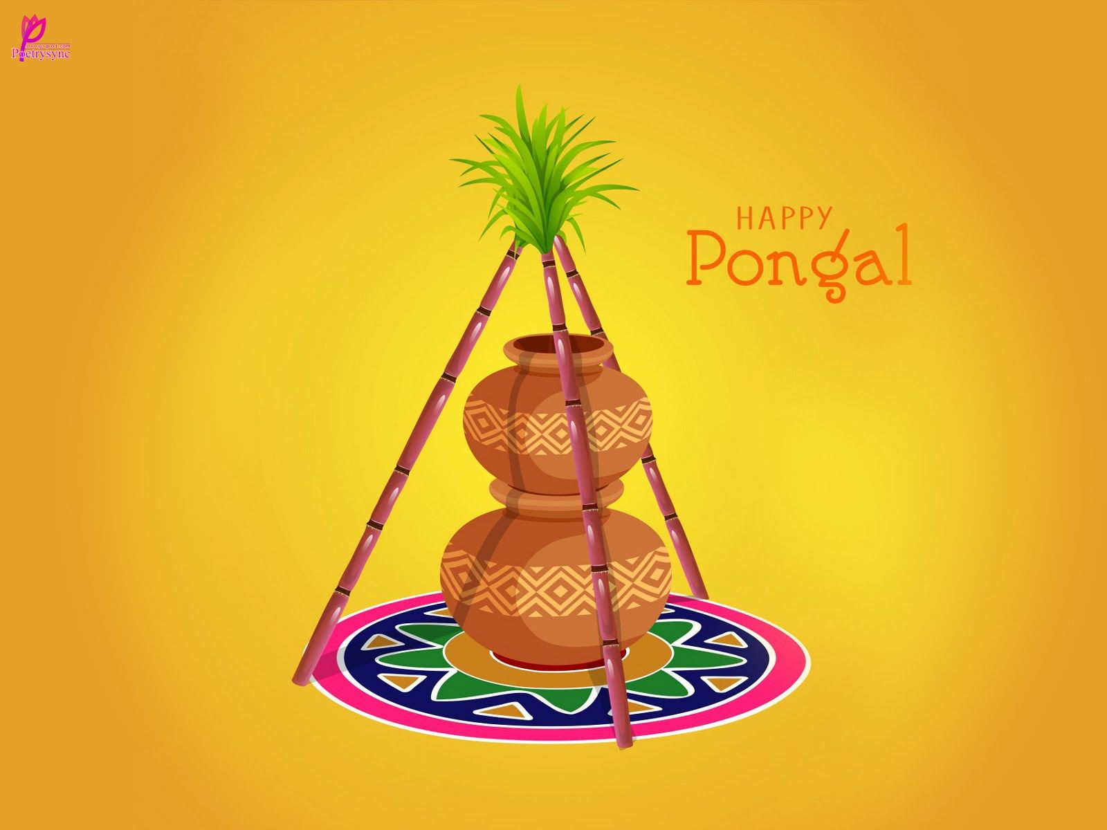 beast wishes of happy pongal greetings card with sms and