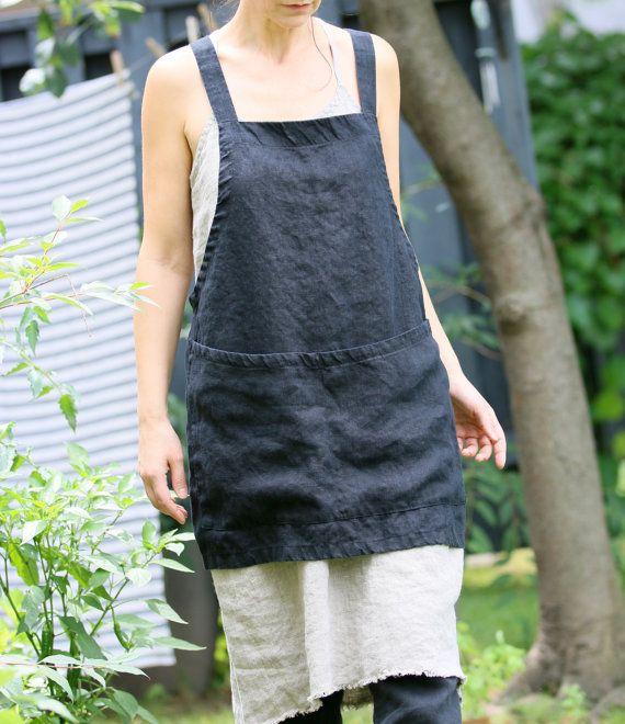 Grembiule in lino incrociato grembiule/grembiule/no-cravatte grembiule/giapponese - breve (nero)
