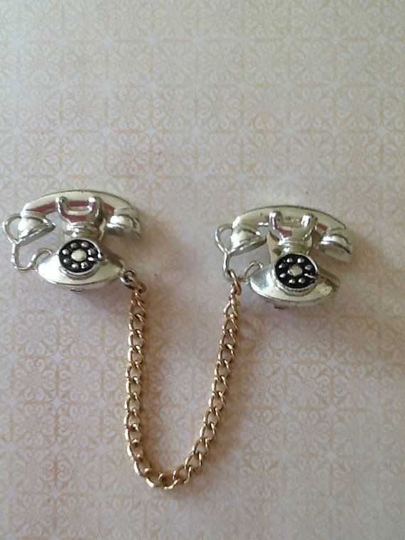 Vintage 60s Ornate PHONE Sweater Clips Guards Silver