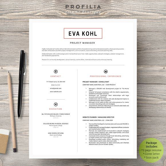Word Resume  Cover letter Template Pinterest Template and Cv