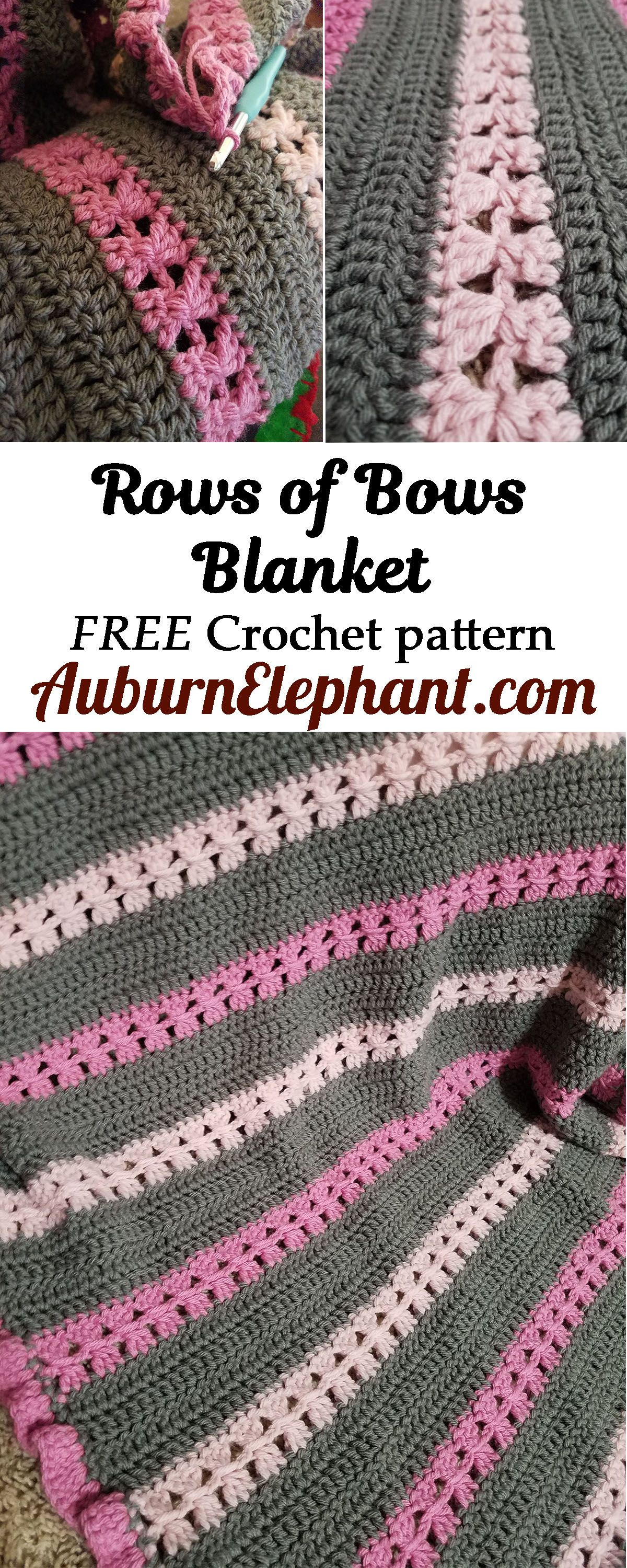 Get this FREE Crochet pattern for the Rows of Bows Blanket by Auburn