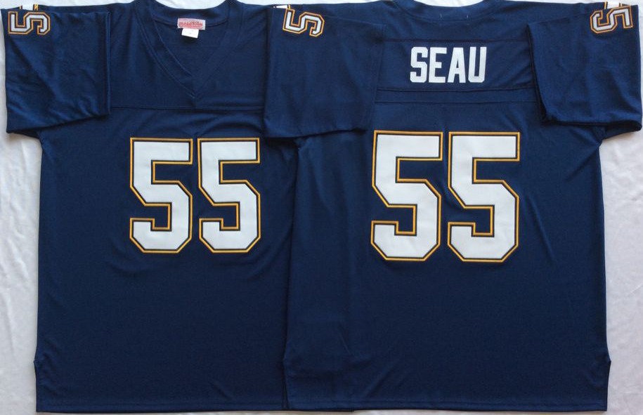 brand new 5967b 0dfae Men NFL Los Angeles Chargers 55 Seau blue Mitchell Ness ...