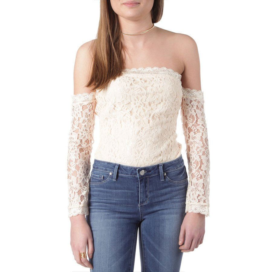 Rust lace bodysuit  NEW JOA Los Angeles Contemporary Off Shoulder Lace Bodysuit Peach