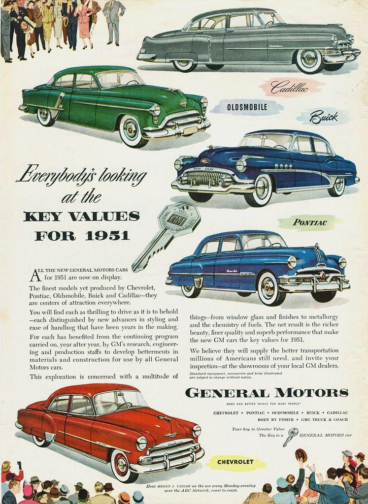 1951 GM Key Values Ad | Cars