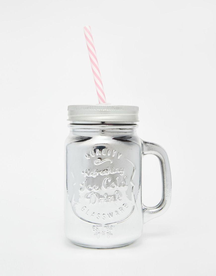 Immagine 1 di New Look - Barattolo in vetro metallizzato argento con cannuccia